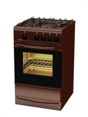 Купить Плита газовая Terra  14120-01 коричневая, крышка, электророзжиг конфорок, подсветка духовки в Челябинск