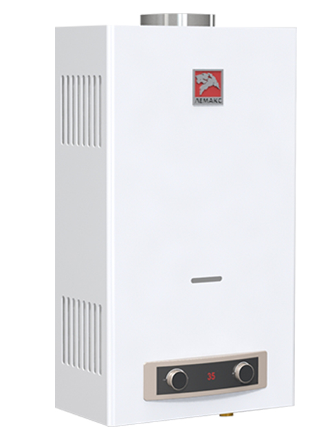 Газовая колонка ЛЕМАКС ЕВРО 20, 10 л/мин, дымоход 110 мм, вода/газ 1/2 дюйма, розжиг от батареек/электросети. Город Челябинск. Цена по запросу