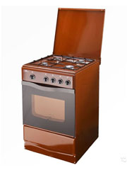 Купить Плита газовая Terra  14120-03 коричневая, крышка, штампованные решетки, газ контроль в Костанай