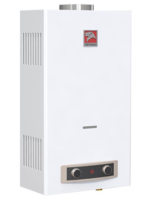 Газовая колонка ЛЕМАКС ЕВРО 24, 12 л/мин, дымоход 110 мм, вода/газ 1/2 дюйма, розжиг от батареек/электросети. Город Костанай. Цена по запросу