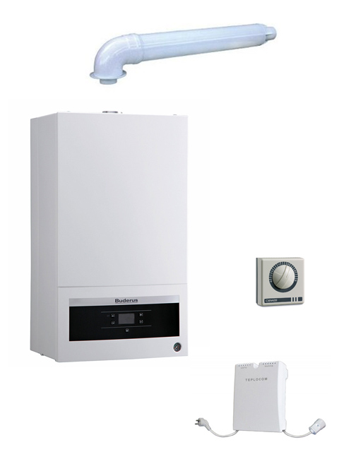 Купить Котел настенный газовый BUDERUS 18K + коаксиальный комплект дымохода + стабилизатор + внешний терморегулятор в Челябинск