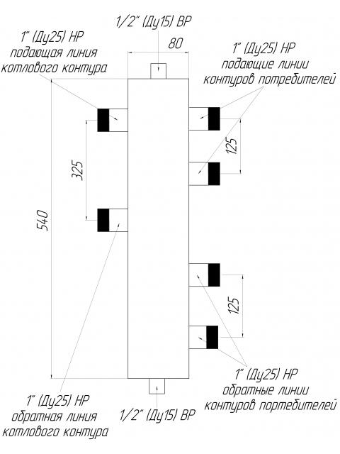 Гидрострелка - гидравлический разделитель универсальный ГРУ-2-60 на два контура. Город Южноуральск. Цена 3945 руб