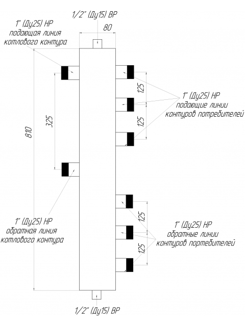 Гидрострелка - гидравлический разделитель универсальный ГРУ-3-60 на три контура. Город Челябинск. Цена 4665 руб