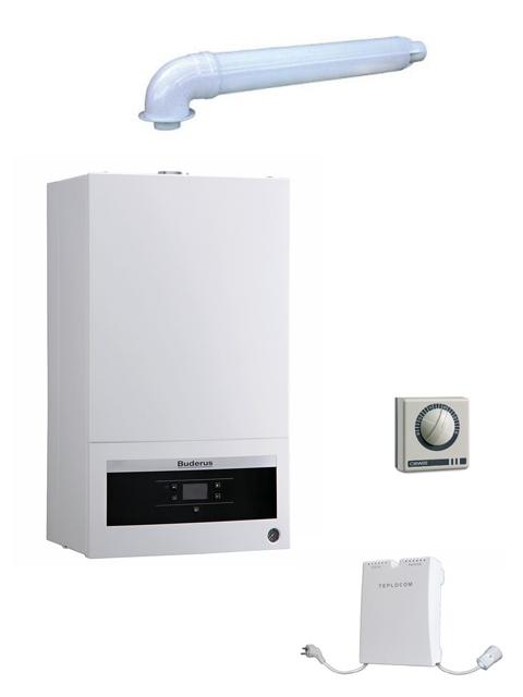 Купить Котел настенный газовый BUDERUS 12K + коаксиальный комплект дымохода + стабилизатор + внешний терморегулятор в Челябинск